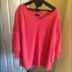 I.N. Studio XL Coral Smocked Sleeve Blouse